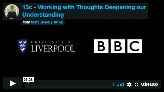 Working with Thoughts – Deepening our Understanding